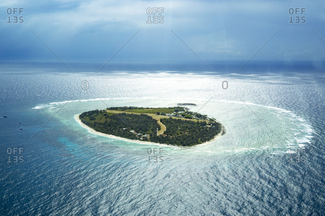 Aerial view of Lady Elliot Island with coral cay- Great Barrier Reef- Australia