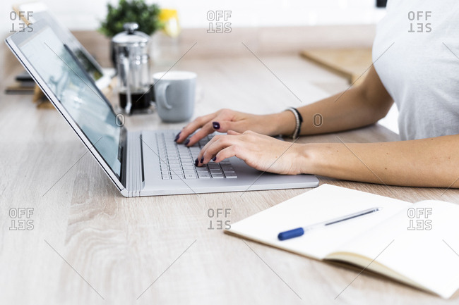 Close-up of young woman using laptop