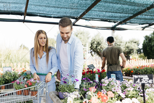 Couple buying flowers in a garden center