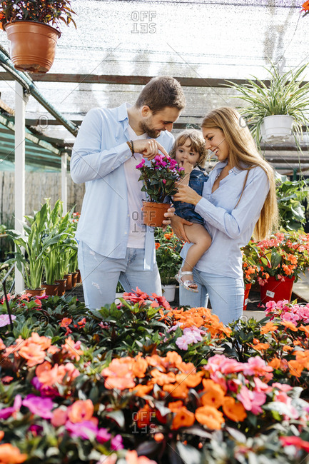 Happy mother- father and daughter buying flowers in a garden center