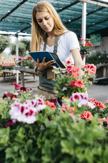 Female worker in a garden center with a tablet caring for flowers