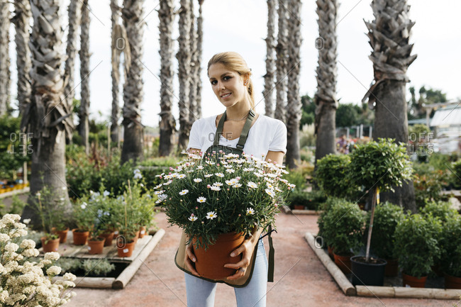 Portrait of a smiling female worker in a garden center holding a daisy plant