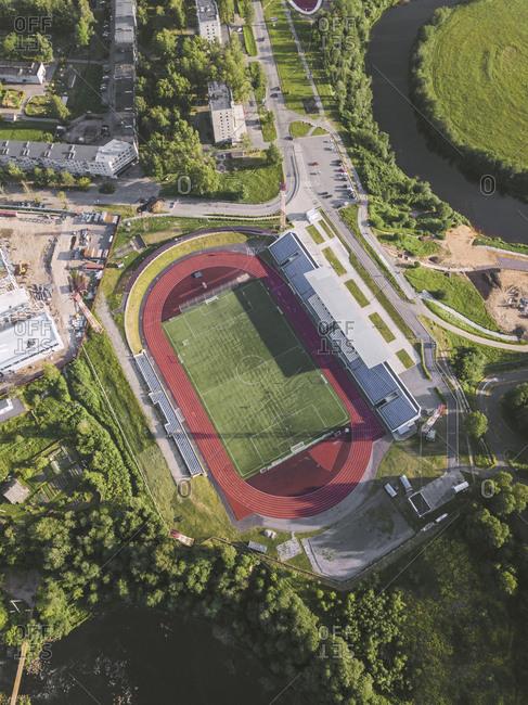Aerial view of sport stadium- Tikhvin- Russia