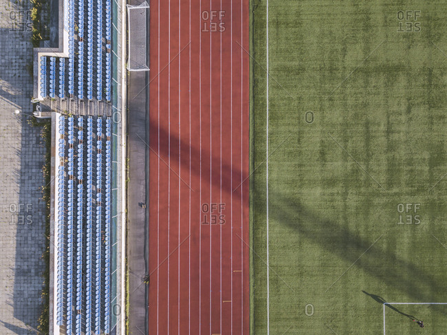 Aerial view of grandstand- racetrack and soccer field- Tikhvin- Russia