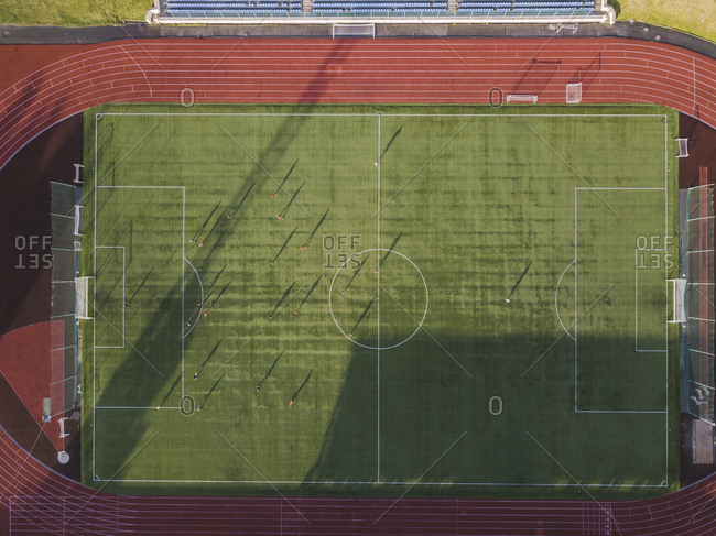 Aerial view of soccer field- Tikhvin- Russia