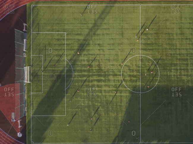 Aerial view of football player on soccer field- Tikhvin- Russia