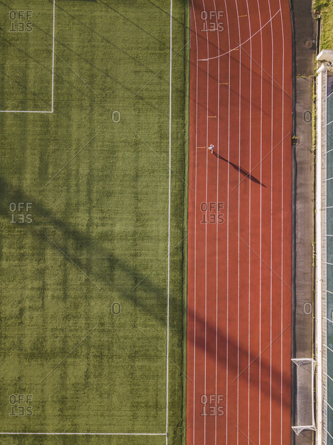 Aerial view of soccer field and racetrack- Tikhvin- Russia