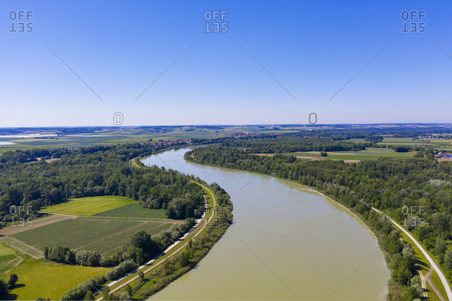 Aerial view of Isar river- Lower Bavaraia- Germany