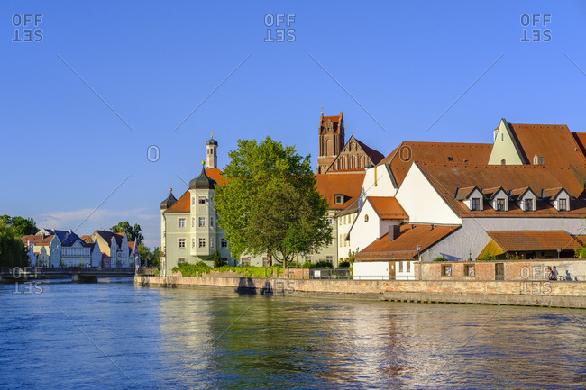 June 3, 2019: Hospital and church of the holy spirit at river Isar- Landhut- Lower Bavaria- Germany