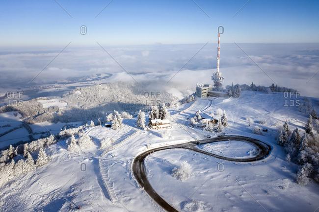 Aerial view of the snowcapped Gaisberg Mountain, Salzburg, Austria