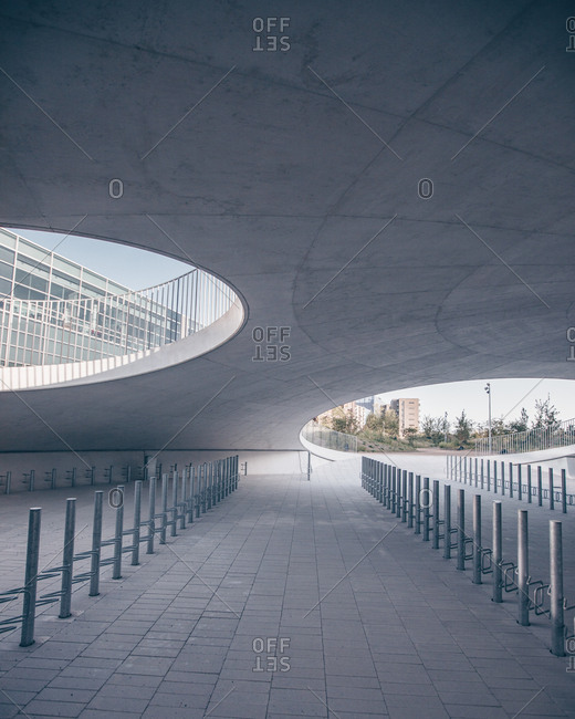 Copenhagen, Denmark - June 29, 2019: Modern architecture at the Karen Blixens Plads urban space at the University of Copenhagen