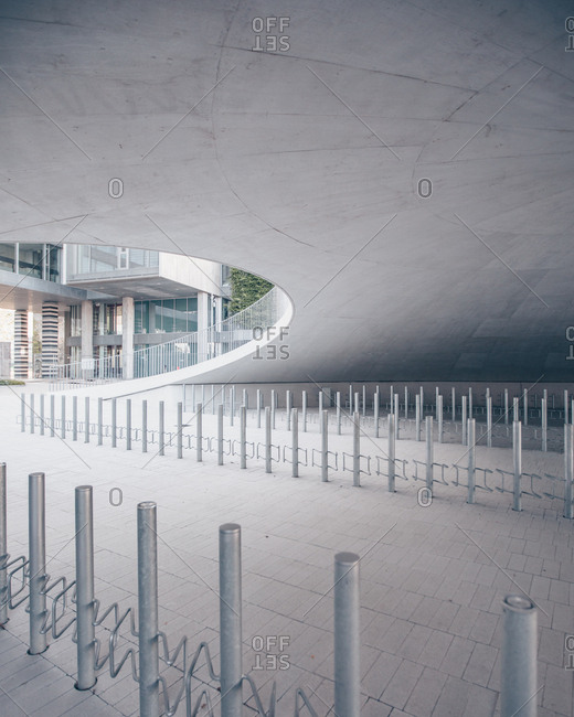 Copenhagen, Denmark - June 29, 2019: Contemporary design of the Karen Blixens Plads urban space at the University of Copenhagen