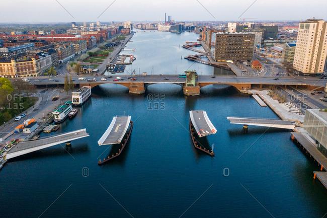 Copenhagen, Denmark - April 25, 2019: Lille Langebro bridge connecting the city center with the island of Christianshavn