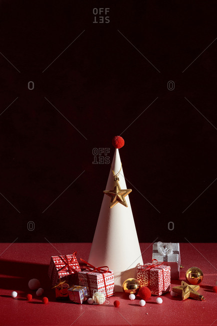 Christmas background decoration. Gift boxes Handmade and Christmas tree.