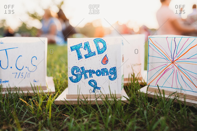 Signs for type one diabetes support outdoors
