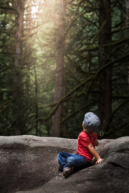Little boy on rock in forest looking up at sunshine