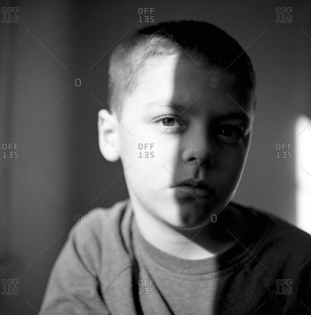 Portrait of boy in black and white