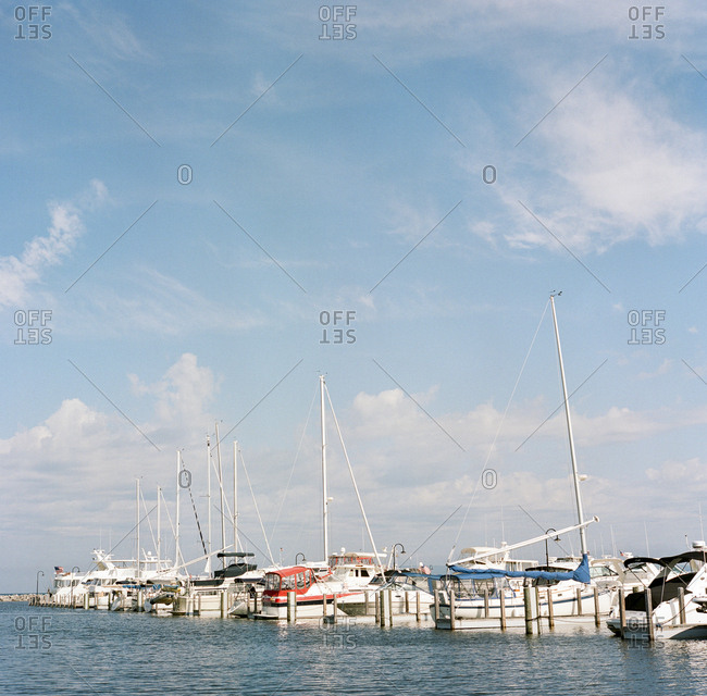 August 23, 2019: Boats docked in Lake Michigan, Chicago