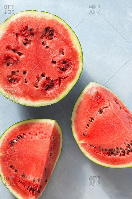Slices of watermelon overhead