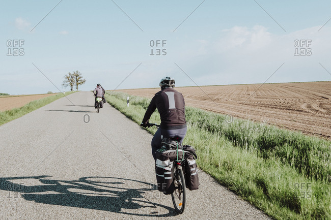 Cyclists in the Romantische Strasse route, Germany