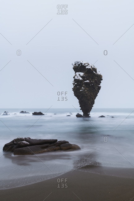 Long exposure shot of daikoku-iwa sea rock, Yoichi, Hokkaido, japan