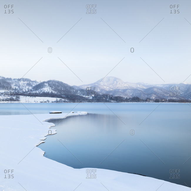 Long exposure shot of winter at Lake Toya, Hokkaido, japan