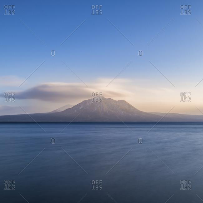 Long exposure shot of mount tarumae from Lake Shikotsu, Hokkaido, japan