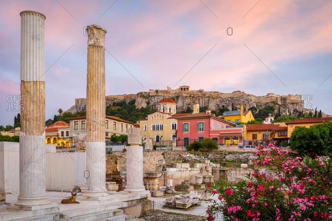 April 30, 2019: Remains of Hadrian's library and acropolis in the old town of Athens