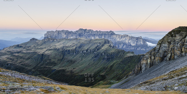 Colorful sunrise view of mountain ridge, French alps, near Chamonix