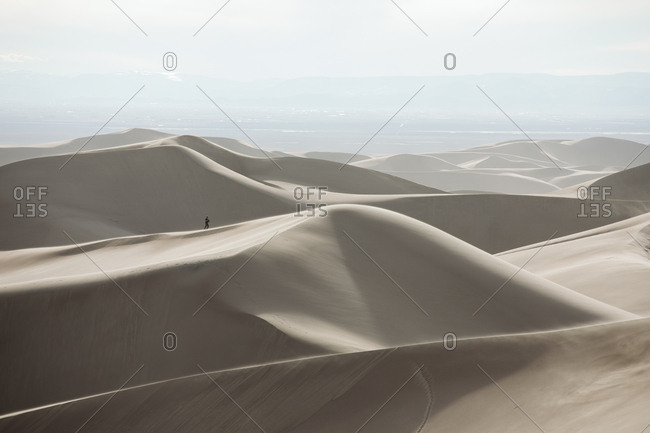 Distant hiker gives scale to Great Sand Dunes National Park
