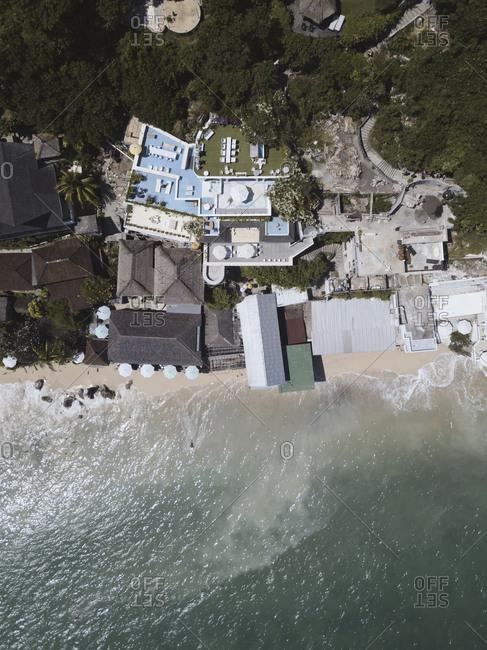 Aerial view of resort on the coast of Bingin beach, Bali, Indonesia