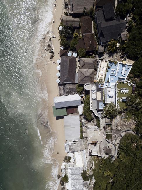 Overhead view of resort on the coast of Bingin beach, Bali, Indonesia