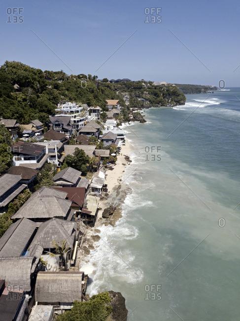 Elevated view of Bingin beach, on the coast of Bali, Indonesia