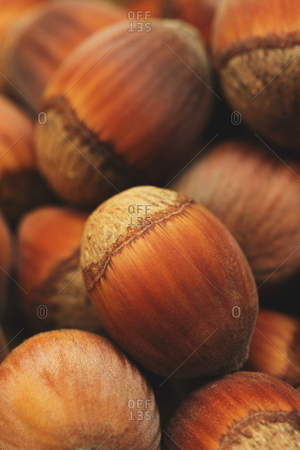 Detail of hazelnuts in a pile