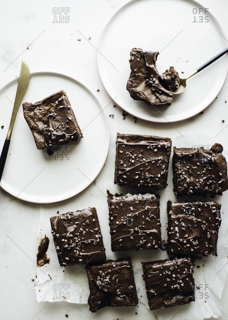 Chocolate brownies prepared to cut and eat