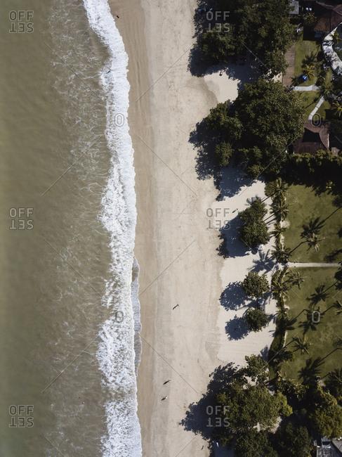 Jimbaran beach and beachside resorts from above, Bali, Indonesia