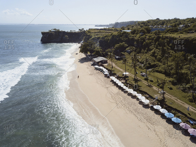 Aerial view of shoreline along Balangan beach, Bali, Indonesia