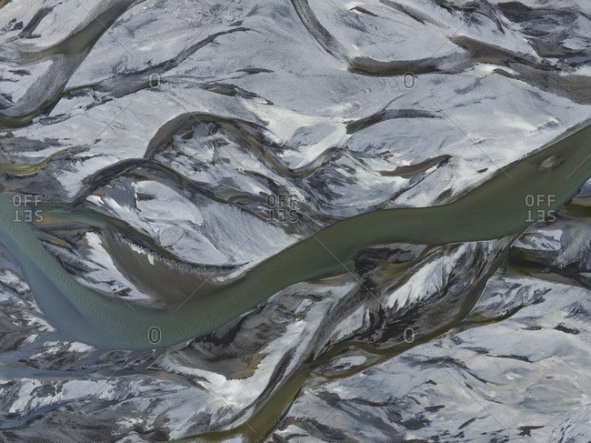 Abstract aerial view of the Icelandic glacial rivers in Landmannalaugar