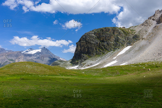 Landscape with mountains and green meadows during a beautiful summer in Northern Europe