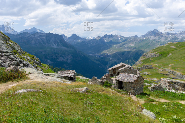 Abandoned pastor huts in an alpine landscape in Northern Europe