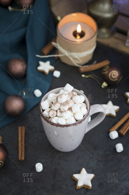 Cup of Hot Chocolate with marshmallows at Christmas time