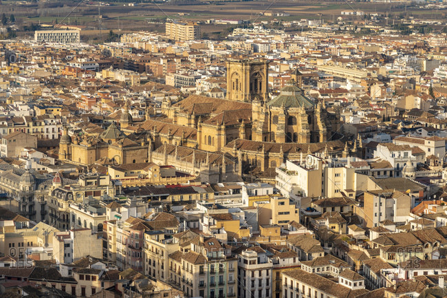 View over Albayzin and the Cathedral of Granada- Spain