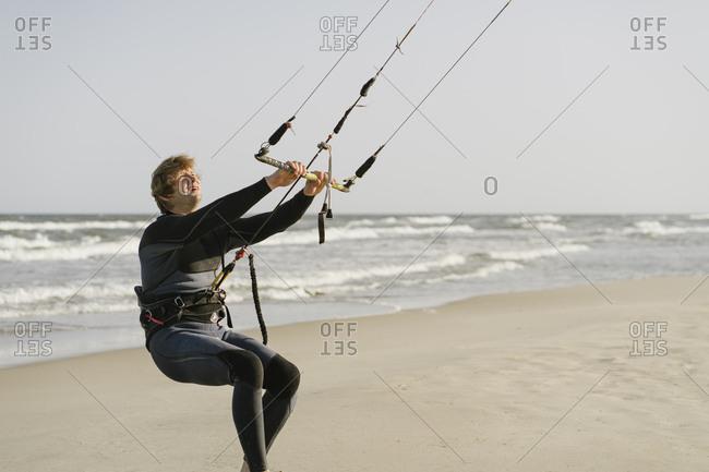 Kite boarder preparing his kite