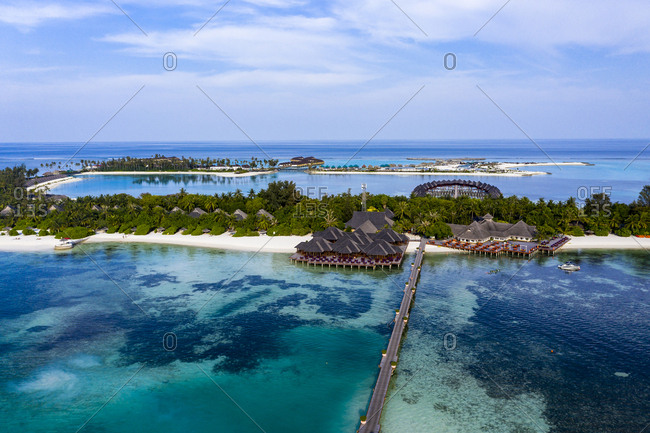 Aerial view of beach bungalows- Olhuveli- South Male Atoll- Maldives