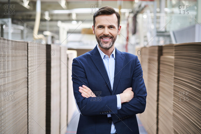 Portrait of smiling businessman in factory warehouse