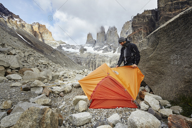 Mountaineer camping at Torres del Paine National Park- Patagonia- Chile