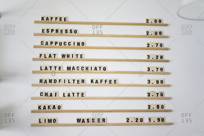 Price board for various coffees on offer in a coffee shop