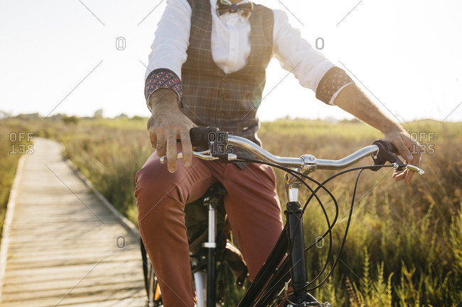 Well dressed man with his bike on a wooden walkway in the countryside after work