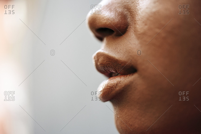 Nose- lips and cheek of young woman- close-up