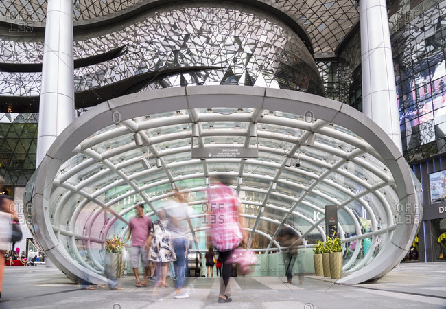 February 18, 2017: MRT Entrance at Orchard Road shopping Mall- Singapore